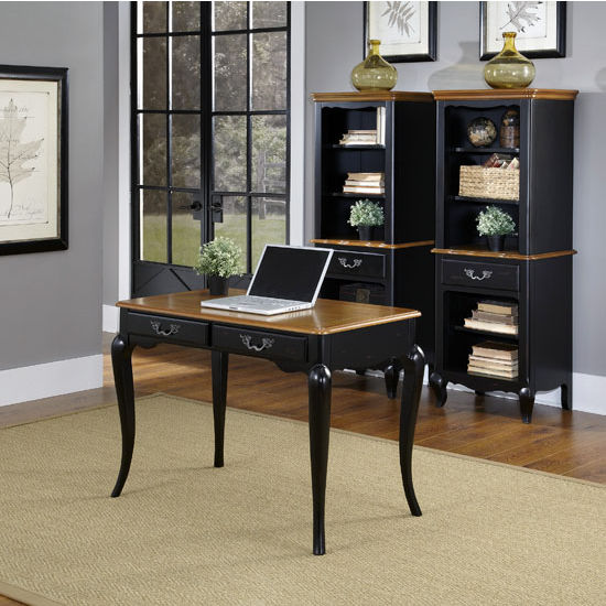 "Home Styles The French Countryside Oak and Rubbed Black Student Desk, 42"" W x 24"" D x 30"" H"