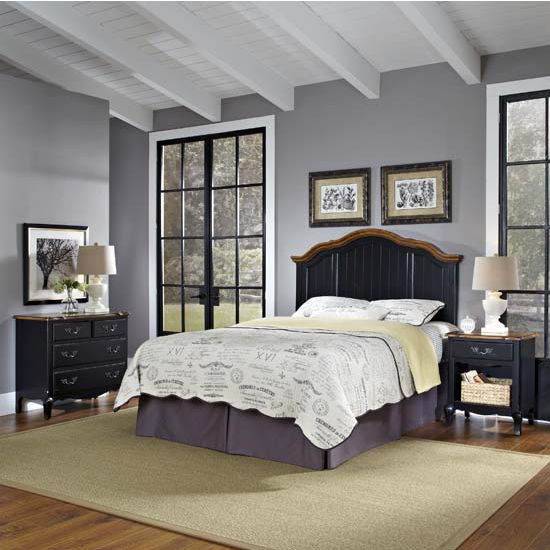 Bedroom furniture the french countryside oak and rubbed - Black or white bedroom furniture ...