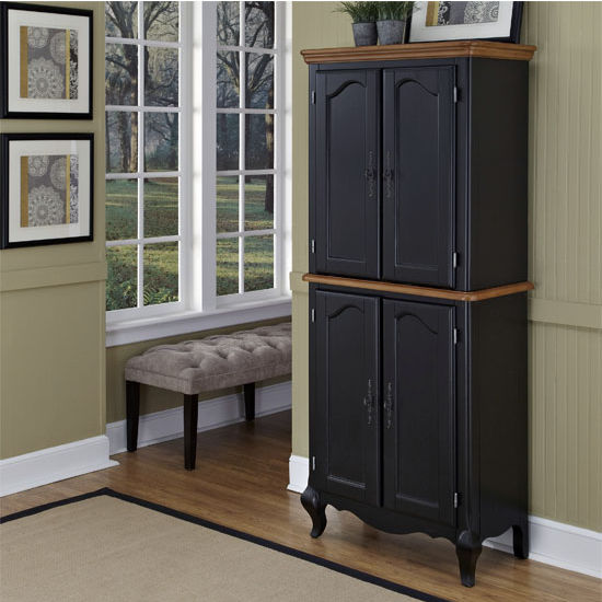 Home Styles The French Countryside Oak and Rubbed Black Pantry, 30-1/4'' W x 17'' D x 71'' H