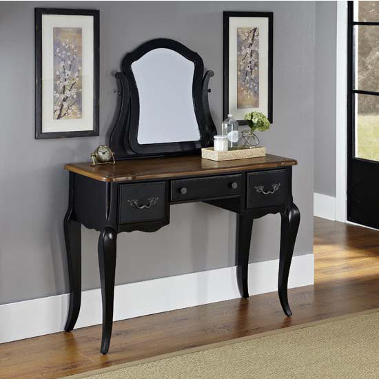 Home Styles The French Countryside Oak and Rubbed Black Vanity and Mirror, 44'' W x 19'' D x 56-3/4'' H