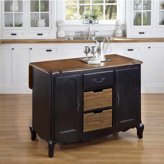 Home Styles The French Countryside Oak and Rubbed Black Kitchen Island, 48'' W x 25'' D x 36'' H