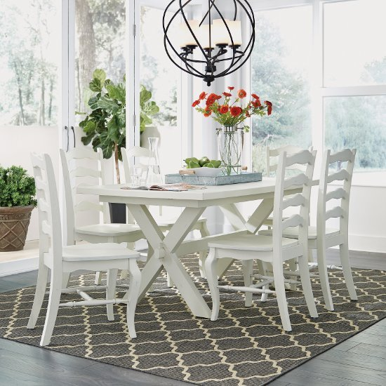 """Home Styles Seaside Lodge 7-Piece Dining Set, Includes Dining Table, (6) Dining Chairs, White Painted, 60"""" W x 38"""" D x 30-1/4"""" H"""