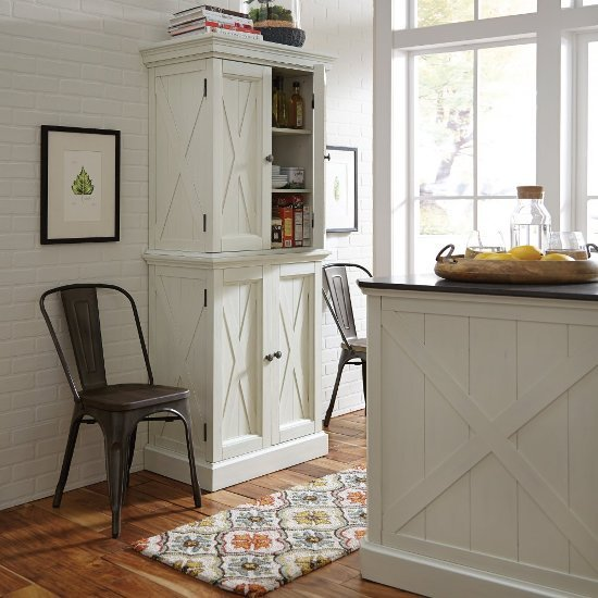 "Home Styles Seaside Lodge Kitchen Pantry in Hand Rubbed White, 30-1/2"" W x 18-1/4"" D x 72"" H"