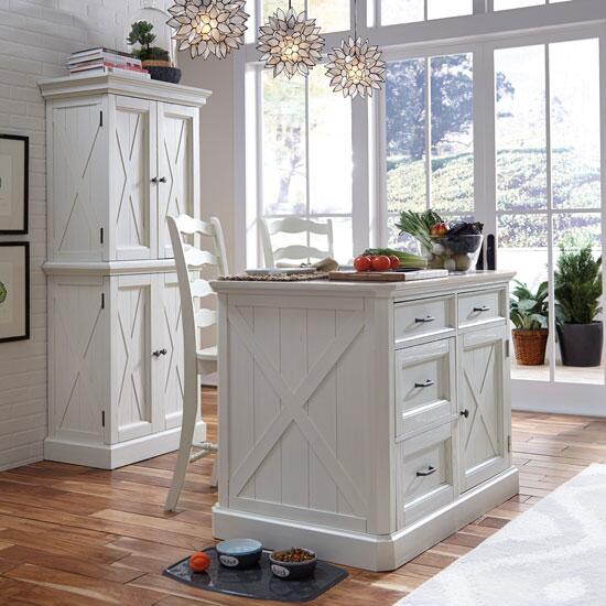"Home Styles Seaside Lodge Kitchen Island & 2 Stools in Hand Rubbed White, 47"" W x 30"" D x 36"" H"