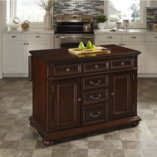 Home Styles Colonial Classic Kitchen Island w/ Wood Top, 48'' W x 25'' D x 36'' H, Dark Cherry Finish
