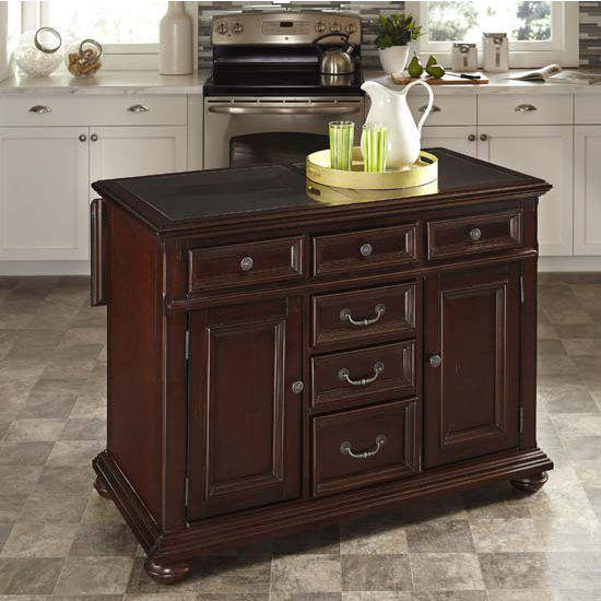 Home Styles Colonial Classic Kitchen Island w/ Granite Top, 48'' W x 25'' D x 36'' H, Dark Cherry Finish