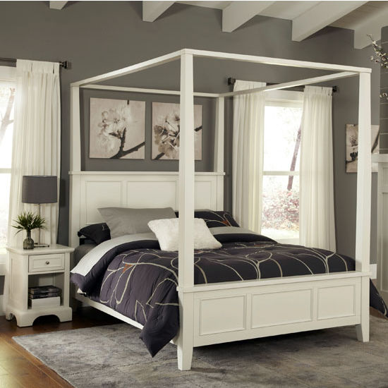 Bedroom Furniture Naples White King Canopy Or Poster Bed With