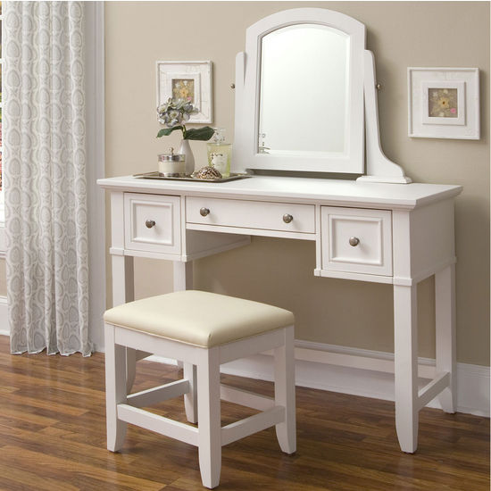 Home Styles Naples Vanity & Vanity Bench in White