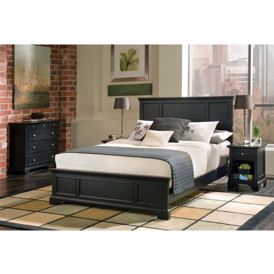 Bedroom furnishings bedford black king bed and matching for Matching bed and dresser