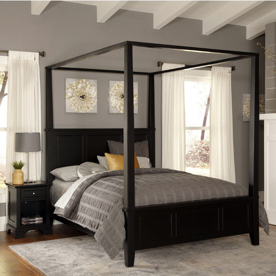 Bedroom Furniture Bedford Black King Canopy And Poster