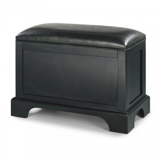 "Home Styles Bedford Storage Bench in Satin Black, 28-1/4"" W x 15"" D x 20-1/4"" H"