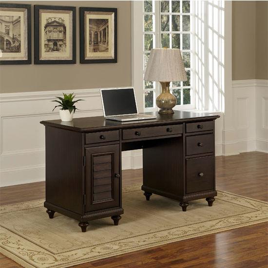 Home Styles Bermuda Espresso Pedestal Desk, 54'' W x 24'' D x 30-1/2'' H