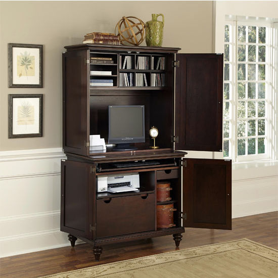 Home Office, Bermuda Espresso Or Brushed White Compact