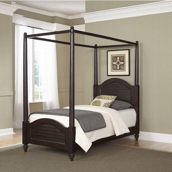 Bermuda old world tropical twin canopy bed in espresso or for Tropical canopy bed