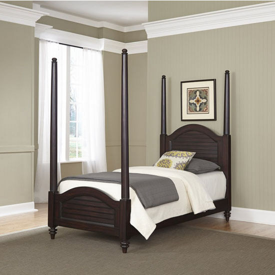 Home Styles Bermuda Old World Tropical Twin Poster Bed in Espresso Finish, 41-1/2''W x 83-1/2''D x 102-1/2''H