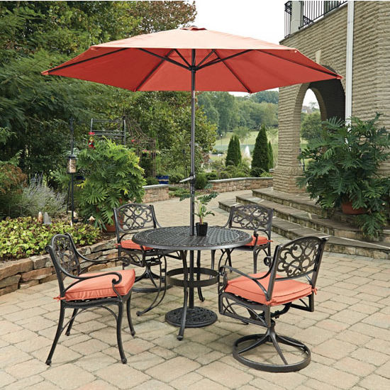 42''  Table, 2 Arm Chairs, 2 Swivel Rocking Chairs, w/ Umbrella