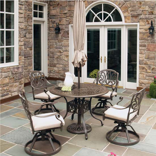Home Styles Floral Blossom Taupe 5-Piece Dining Set with Umbrella, Includes 42'' Table, 4 Swivel Chairs w/ Cushions