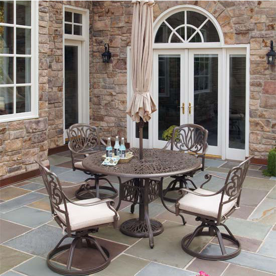 Home Styles Floral Blossom Taupe 5-Piece Dining Set with Umbrella, Includes 48'' Table and 4 Swivel Chairs w/ Cushions