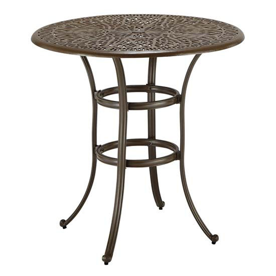 Home Styles HS-5559-35, Floral Blossom Bistro Table, 42'' W x 42'' D x 40-1/2'' H, Taupe Finish