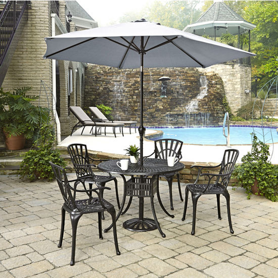 Home Styles Largo Collection 42'' Diameter 5-Piece Outdoor Dining Set w/ Umbrella (Includes: (1) Round Table, (4) Arm Chairs, (1) Umbrella and (1) Umbrella Stand), Charcoal Finish
