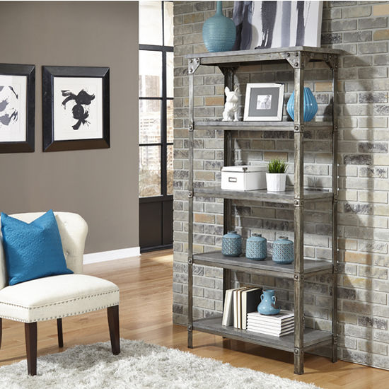 Home Styles Urban Style Collection 38'' 5-Tier Storage Shelf in Aged Metal, 38'' W x 16'' D x 75-1/2'' H