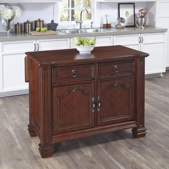 48'' Wide Santiago Kitchen Island With Wood Top In