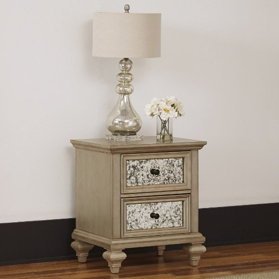 """Home Styles Visions Night Stand in Silver/Gold Champagne, 23-1/2"""" W x 19"""" D x 27-1/4"""" H"""