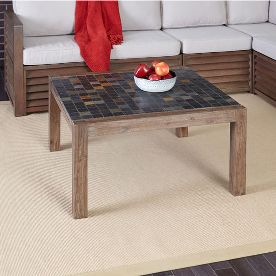 Home Styles Morocco Collection 35-3/4'' Coffee Table in Slate/Wire Brushed, 35-3/4'' W x 35-1/2'' D x 18-3/4'' H