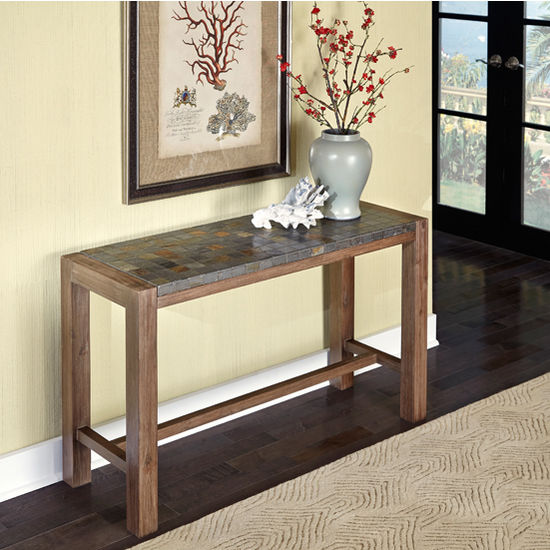 Home Styles Morocco Collection 48'' Console Table in Slate/Wire Brushed, 48'' W x 17'' D x 28'' H