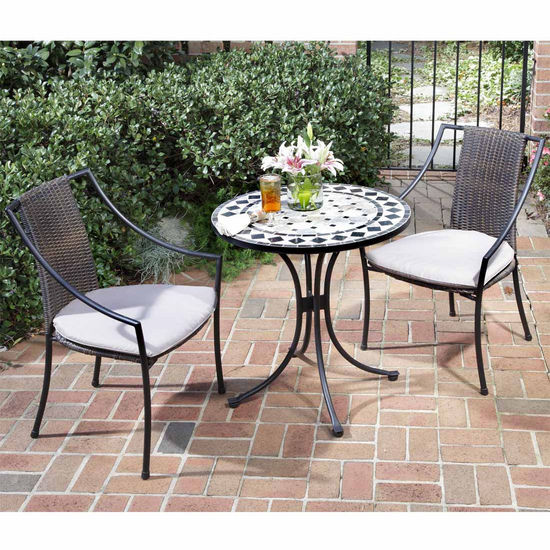 Marble 3-Pc. Bistro Set with 2 Laguna Slope Arm Chairs
