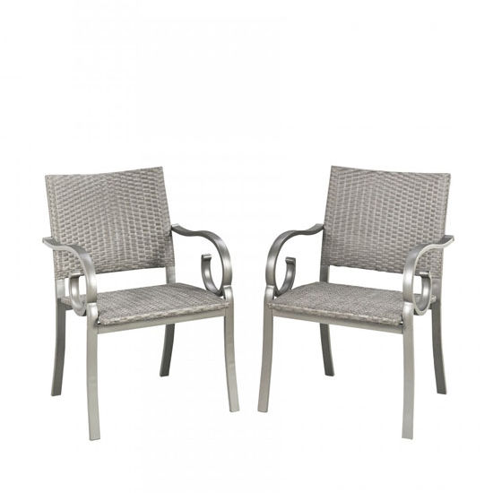 Home Styles Capri Pair of Outdoor Arm Chairs in Grey Finish