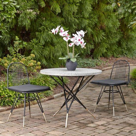 """Home Styles Du Jour Outdoor / Indoor 3-Piece Bistro Set in Gray Concrete, Black Powder-Coated Finish, Set Includes: 35-1/2"""" Round Table and (2) Chairs"""