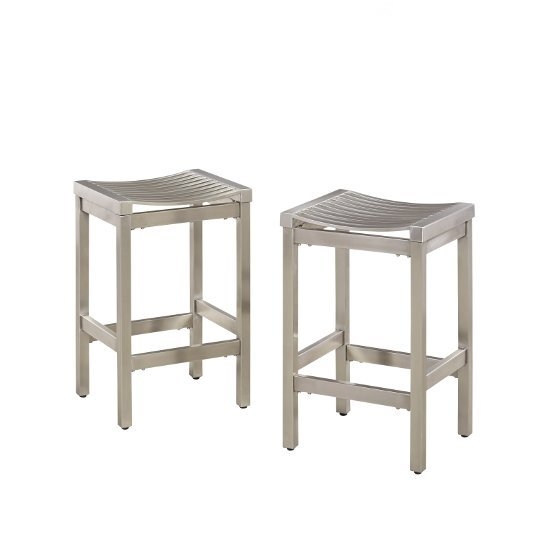 """Home Styles Pair of Stainless Steel Stools in Brushed Satin, 15-3/4"""" W x 13-3/4"""" D x 24"""" H"""