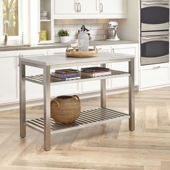 48'' Wide Stainless Steel Island Set In Brushed Satin By Home Styles