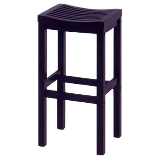 Wood Bar Stool with Square Seat and Black Finish