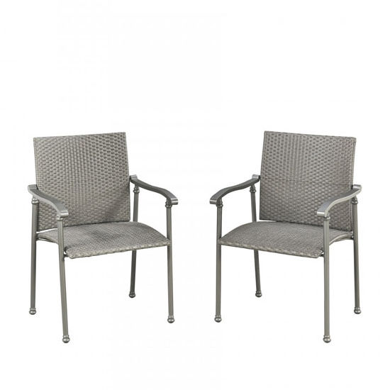Home Styles Umbria Pair of Arm Chairs with Two-Tone Grey Synethetic Weave Seat in Grey Finish