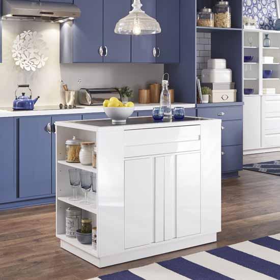 "Home Styles Linear Storage Kitchen Island, White, 42""W x 24""D x 36""H"