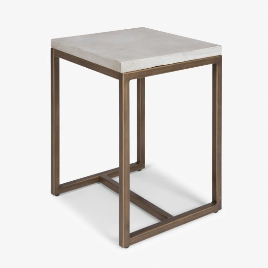 """Home Styles Geometric Collection End Table in Chalky White, 18"""" W x 16"""" D x 22"""" H"""