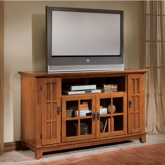 Home Styles Arts & Crafts Entertainment Credenza, Oak Finish