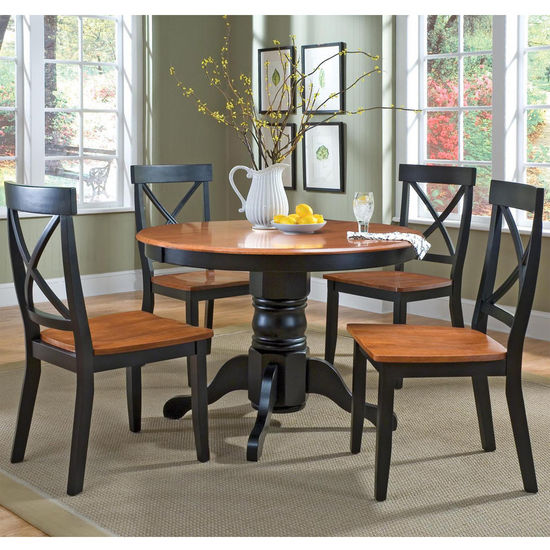 5-Piece Round Pedestal Dining Sets in White & Ebony/Wood Finishes by Home Styles