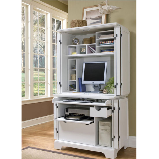 Home Styles Naples Compact Computer Cabinet with Hutch