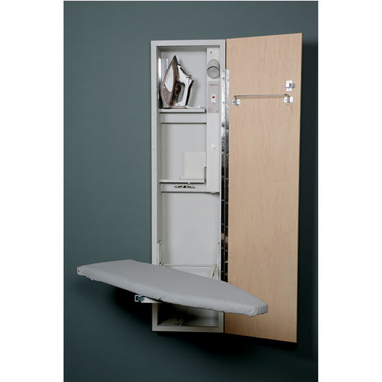 Iron-A-Way UD-42 Universal Design Ironing Center with Wood Door Options, Cool Grey Interior, Unfinished Exterior, 15'' W x 7-3/4'' D x 60-5/8'' H