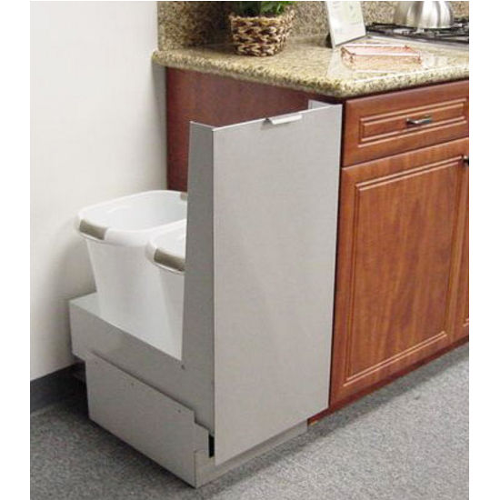 Trash Cans - Trash or Recycling Cabinet with Trash Cans by Imperial | KitchenSource.com