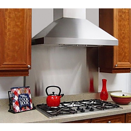 "Imperial Wall Pyramid Range Hood with Slim Baffle Filters & 7"", 8"", or 10"" Round Duct/ Transition, 675 - 900 CFM, Stainless Steel"