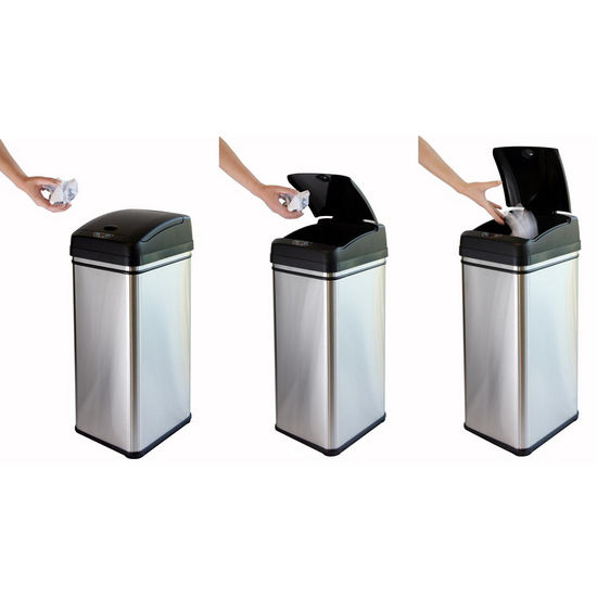 Trash Cans Deodorizer 13 Gallon Stainless Steel Automatic
