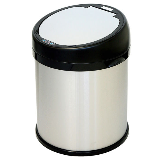 "iTouchless 8 Gallon Sensor Touchless Trash Can, Stainless Steel with Round Extra-Wide Opening, 14.13""W x 14.75""D x 18.5""H"