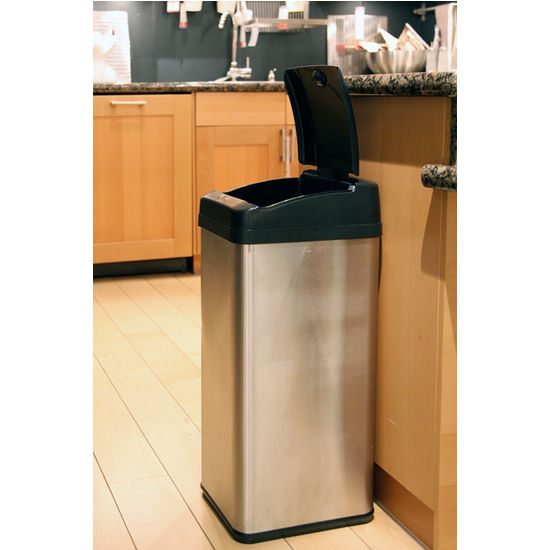 Touchless Trash Can >> Trash Cans - 13 Gallon Extra-Wide Stainless Steel Automatic Sensor Touchless Trash Can by ...