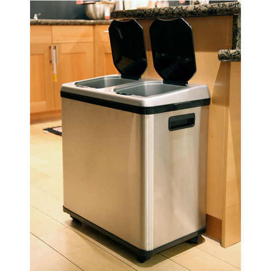 Trash Cans 16 Gallon Dual Compartment Stainless Steel Automatic Sensor Touchless Recycle Bin Can By Itouchless Kitchensource