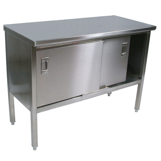 Enclosed Stainless Steel Kitchen Work Table with Sliding Doors by John Boos