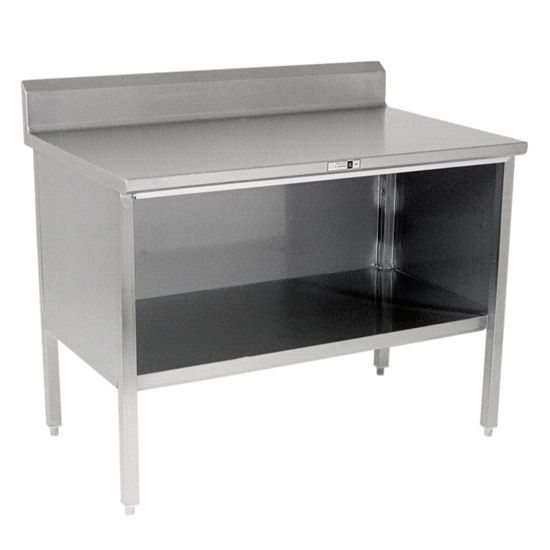 "Open Front Stainless Steel Kitchen Work Table with 6"" Backsplash by John Boos"